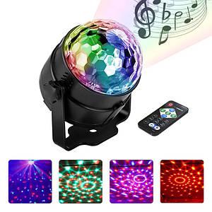 Светодиодный диско шар EKOOT L-12Y LED RGB световое шоу голосовое управление пульт ДУ