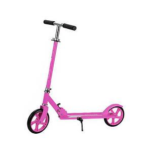Двухколёсный самокат Scooter 885 Розовый для подростков и детей складной с подножкой и задним тормозом