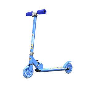 Двухколёсный самокат Scooter 999 Синий детский складной с регулировкой руля ручным тормозом