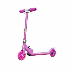 Двухколёсный самокат Scooter 999 Розовый детский для девочек складной с ручным тормозом