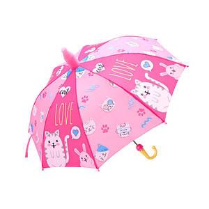 Дитячий парасольку Lesko QY2011301 Cat Love (кошенята) тростина для дітей автоматичний з пластиковим чохлом