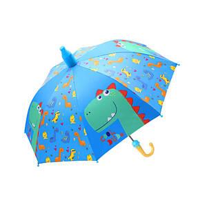 Дитячий парасольку Lesko QY2011301 Cool Dinosaur Blue (динозавр) тростина автоматичний з пластиковим чохлом
