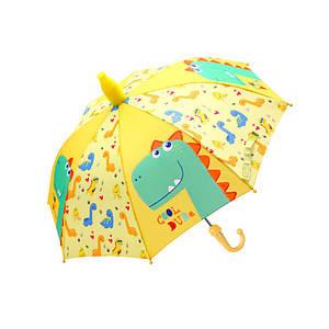 Дитячий парасольку Lesko QY2011301 Cool Dinosaur Yellow (динозавр) тростина автоматичний з пластиковим чохлом