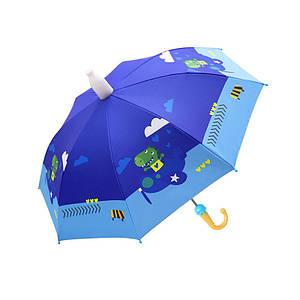 Дитячий парасольку Lesko QY2011301 Dinosaur Pilot (динозавр) тростина автоматичний з пластиковим чохлом