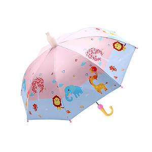 Дитячий парасольку Lesko QY2011301 Funny Animals Pink тростина автоматичний з пластиковим чохлом