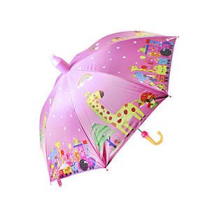 Дитячий парасольку Lesko QY2011301 Giraffe (жираф) тростина автоматичний з пластиковим чохлом