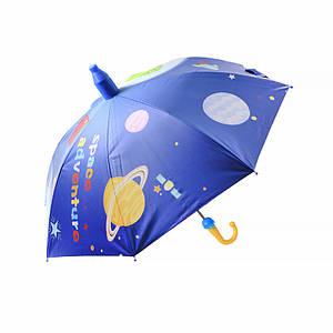 Дитячий парасольку Lesko QY2011301 Space Adventures (космос) тростина автоматичний з пластиковим чохлом