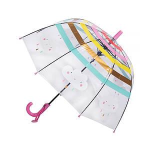 Дитячий парасольку RST RST044A Хмари Pink прозорий механічний для дівчаток від дощу