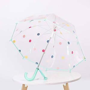 Дитячий парасольку RST RST066 Горошок Aquamarine механічний тростина від дощу і вітру