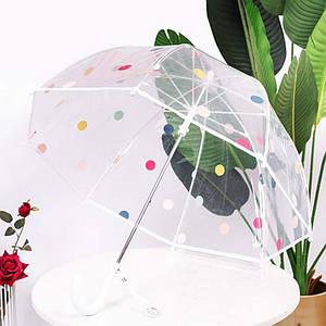 Дитячий парасольку RST RST066 Горошок White прозорий від дощу і вітру тростина
