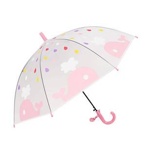 Дитячий парасольку RST RST088 Кіт Pink механічний тростина для дівчаток від дощу