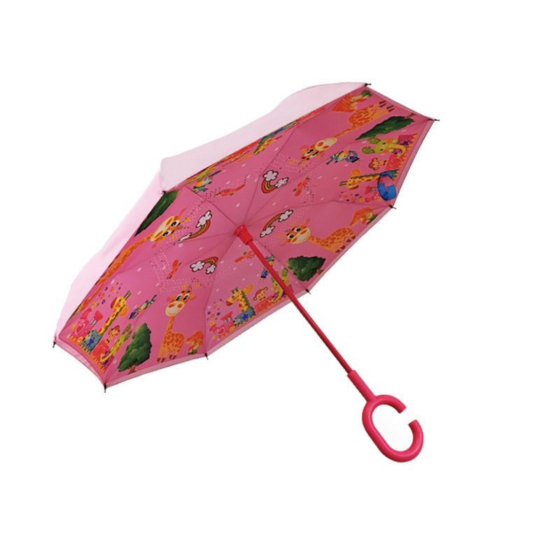 Детский зонт наоборот Up-Brella Giraffe-Pink (жираф) умный обратного сложения для детей