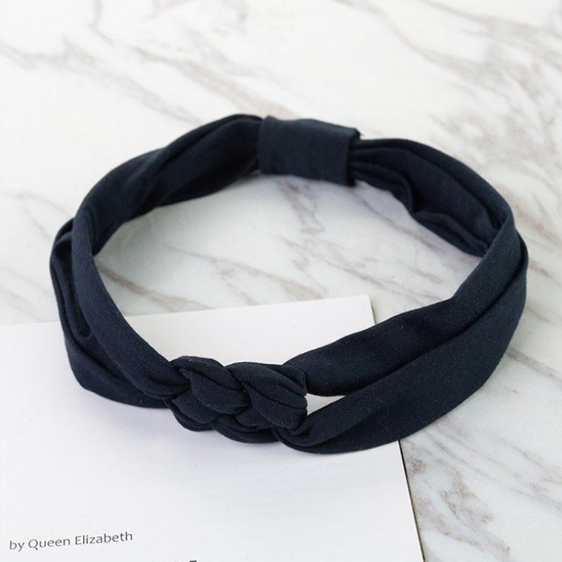 Пов'язка дитяча для волосся Pure Color Lesko 002 Navy Blue стрічка на голову солохи