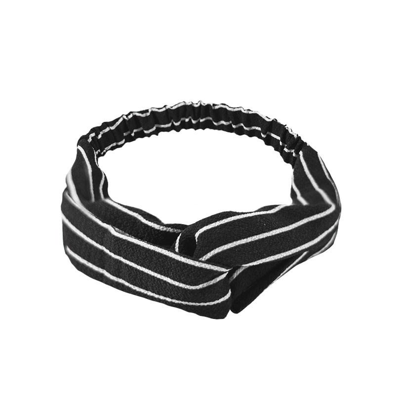 Повязка для фиксации волос Lesko 1001 Полосатая черно-серая на резинке чалма девушкам