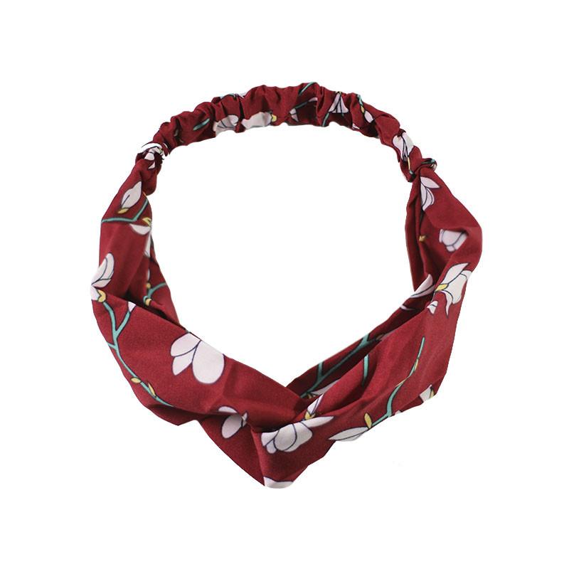 Повязка для фиксации волос Lesko JC1004 Цветы-красный красивая лента на голову женская