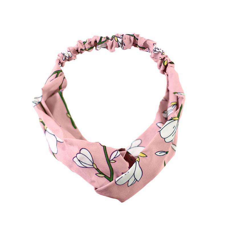Повязка для фиксации волос Lesko JC1004 Цветы-розовый красивая лента на голову женская