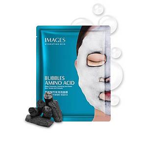 Очищающая пузырьковая маска на тканевой основе с углем IMAGES Bubbles Amino Acid 25 г для лица