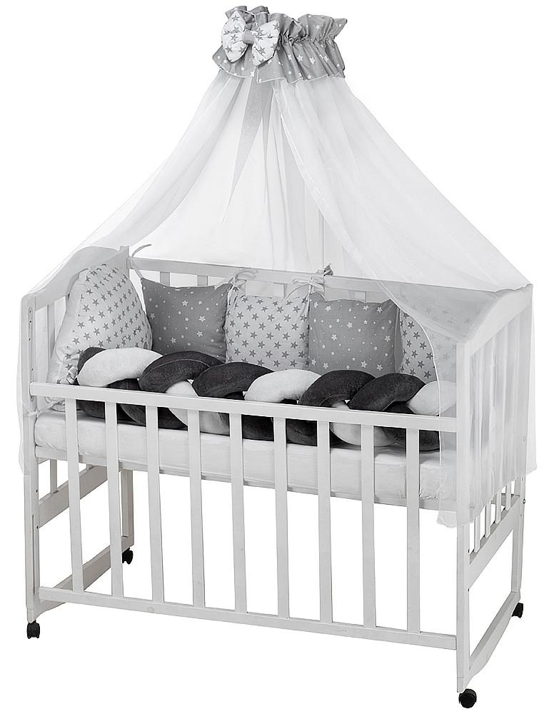Дитяча постіль Babyroom Classic кіска-01 сіро-білі зірочки