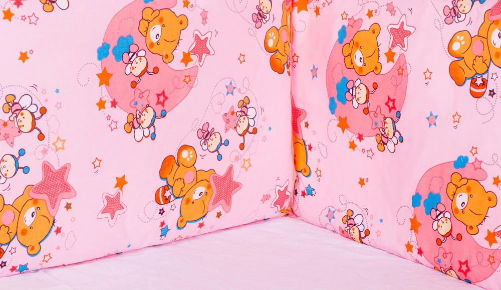 Захист у ліжечко Qvatro Gold ZG-02 рожева (ведмедик, дві бджілки, зірки)