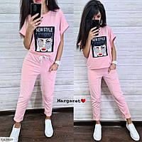 Молодежный прогулочный костюм женский стильный на лето футболка с нашивкой и штаны р-ры  42-46 арт. 8439/8449