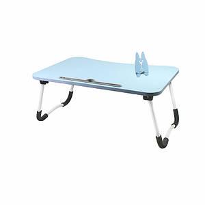 Складаний столик Lesko DNZ-23 Blue для ноутбука і їжі розкладний переносний 60*48*28 см