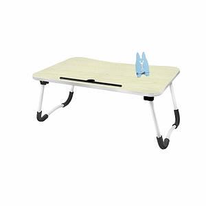 Складаний столик Lesko DNZ-23 Ivory Wood для ноутбука і їжі розкладний переносний 60*48*28 см