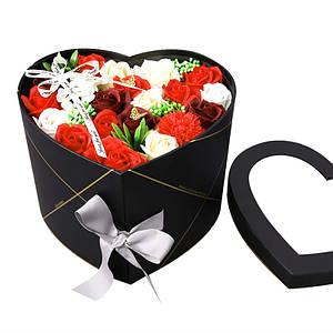 Подарочная коробка с цветами из мыла Lesko L-4645 Black в форме сердца