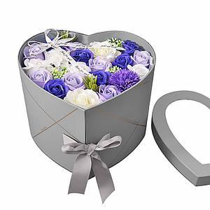 Подарочная коробка с цветами из мыла Lesko L-4645 Gray в форме сердца