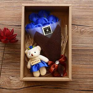 Подарочный букет 7 роз из мыла Lesko X1-1 Blue с мишкой для девушек