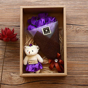 Подарочный букет 7 роз из мыла Lesko X1-1 Purple с мишкой для девушек