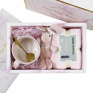 Сувенирный подарочный набор Lesko A4 чашка + полотенце + ложка + игрушка для подруги