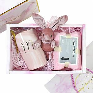 Сувенирный подарочный набор Lesko A5 чашка + полотенце + ложка + игрушка для любимой