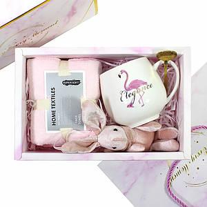 Сувенирный подарочный набор Lesko А6 чашка + полотенце + ложка + игрушка для подруги