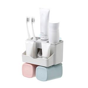 Органайзер-дозатор Lesko JW-7001 для зубной пасты полочка держатель для зубных щеток и стаканчиков (2 чашки)