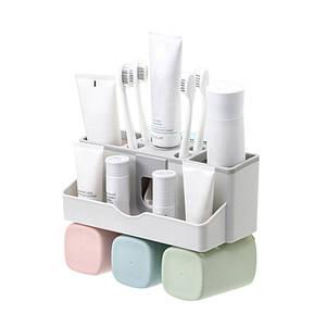 Органайзер-дозатор Lesko JW-7002 для зубной пасты полочка держатель для зубных щеток и стаканчиков (3 чашки)