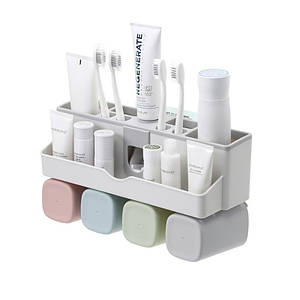 Органайзер-дозатор Lesko JW-7003 для зубной пасты полочка держатель для зубных щеток и стаканчиков (4 чашки)