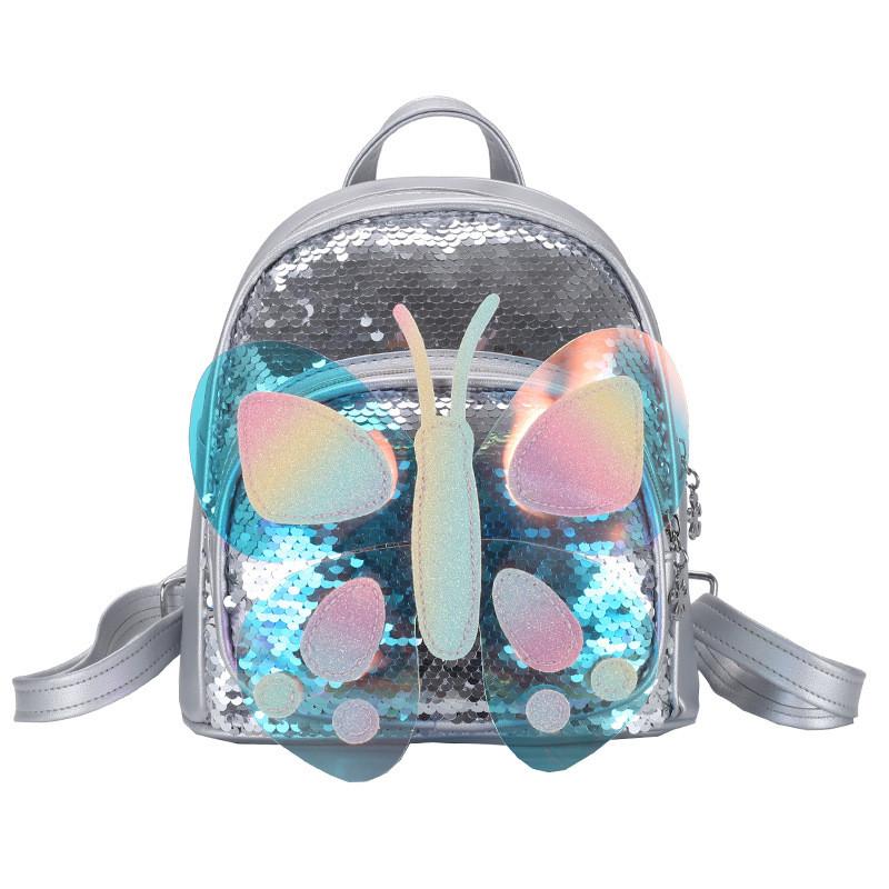 Детский рюкзак Butterfly Lesko 0817 Серебряные паетки для девочек прогулки садика