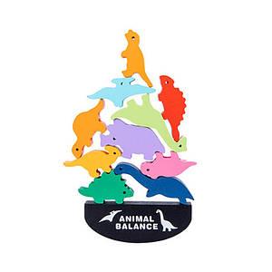 Дерев'яна розвиваюча іграшка Animal Balance DL2253 Світ динозаврів балансир