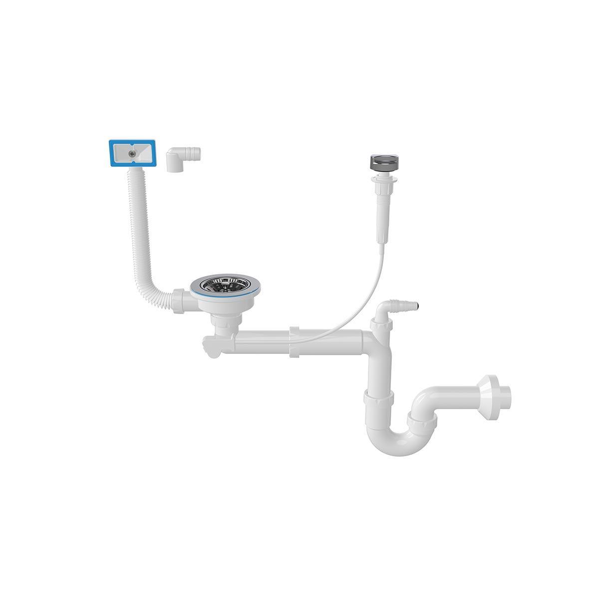 """Сифон-автомат для миття 3 1/2"""", прямоточний, випуск 114 мм, пряма труба 40 мм (NOVA 1044)"""