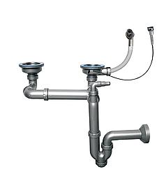 """Сифон-автомат для подвійний мийки 3 1/2"""", прямоточний, випуск 114 мм, пряма труба 40 мм (NOVA 1199)"""