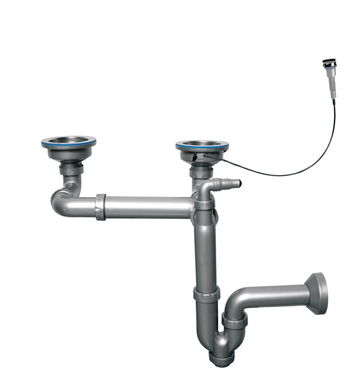 """Сифон-автомат для подвійний мийки 3 1/2"""", прямоточний, випуск 114 мм, пряма труба 40 мм (NOVA 1199.070)"""