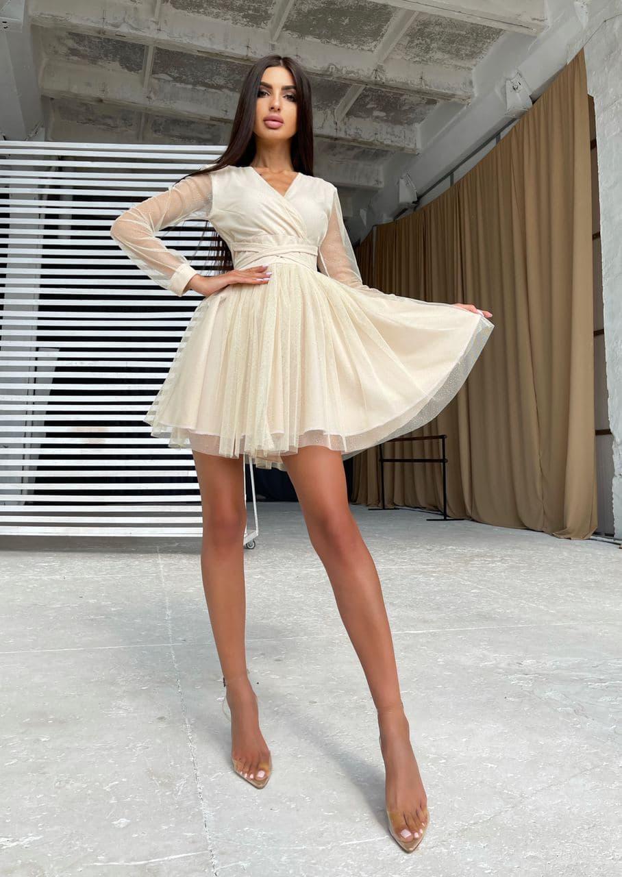 Блестящее платье-мини с пышной юбкой и завязками на талии Beige