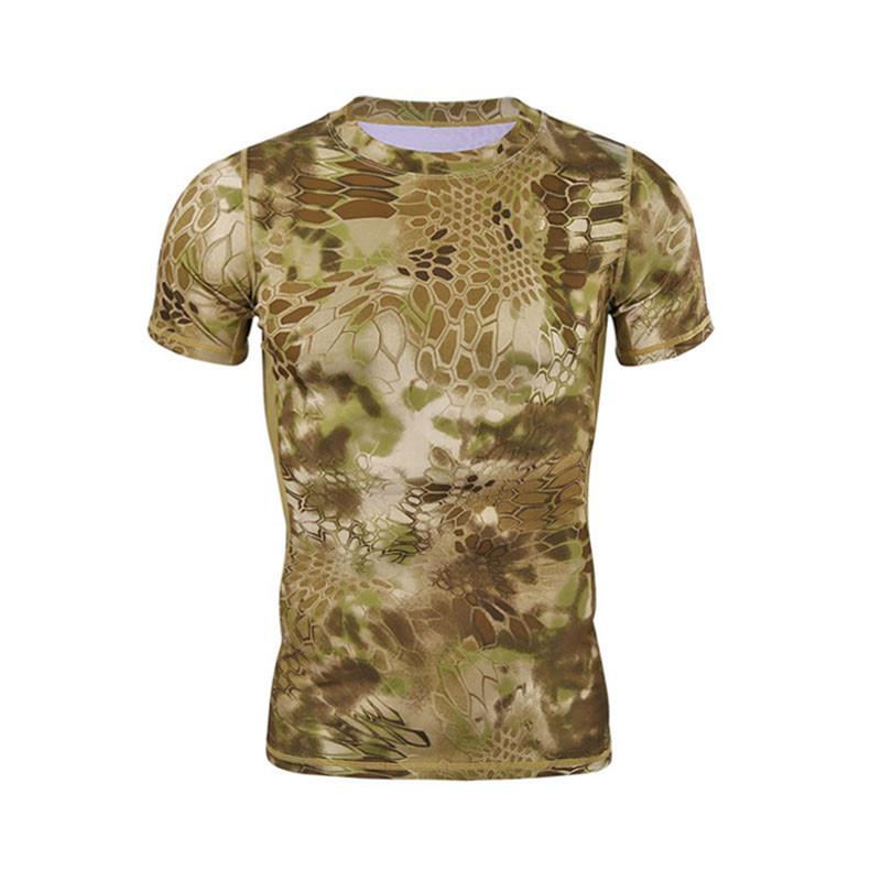 Тактична футболка Lesko A159 Brown Kryptek розмір 2XL з коротким рукавом військова для чоловіків