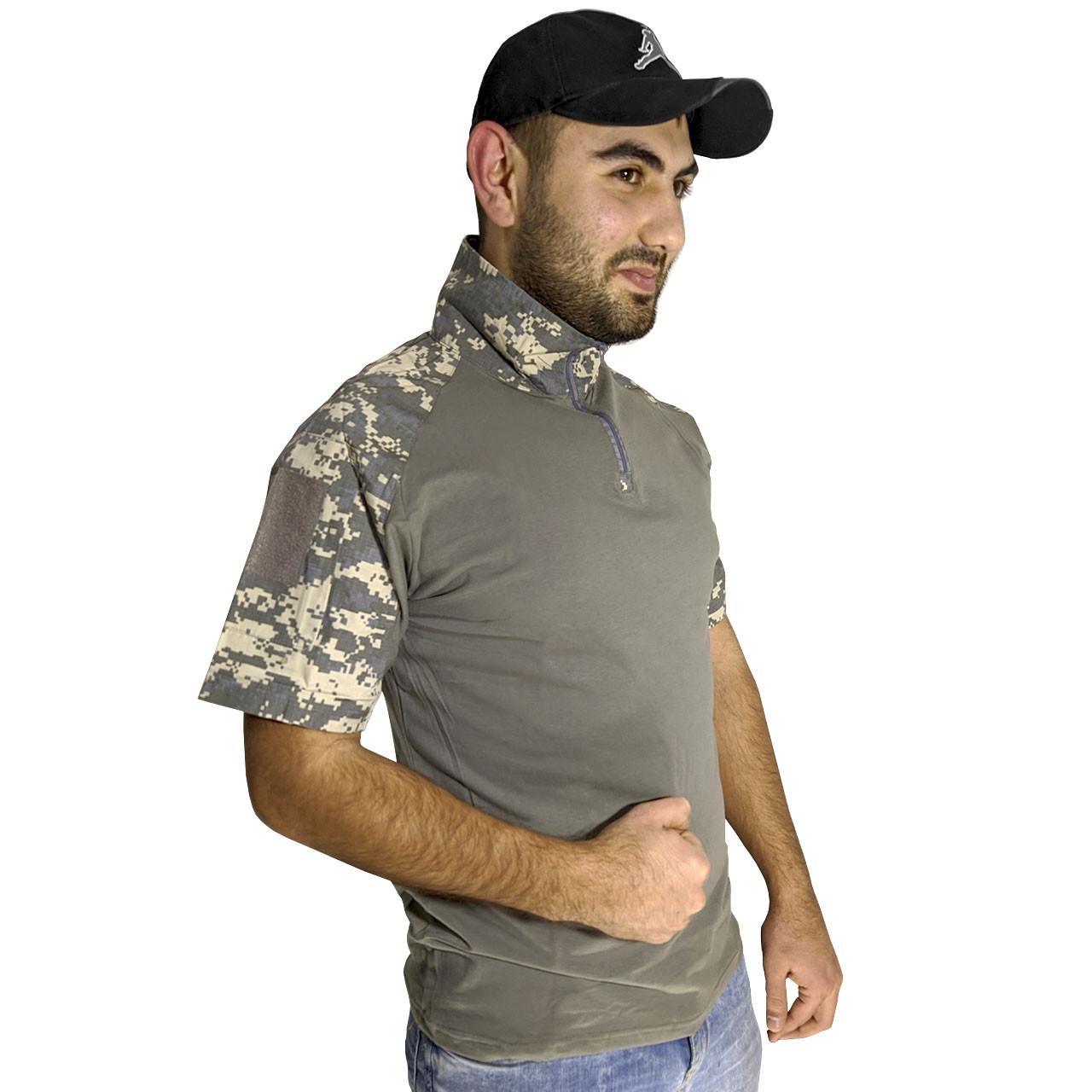 Тактична футболка з коротким рукавом Lesko A416 Camouflage ACU XXL чоловіча на змійці камуфляжна