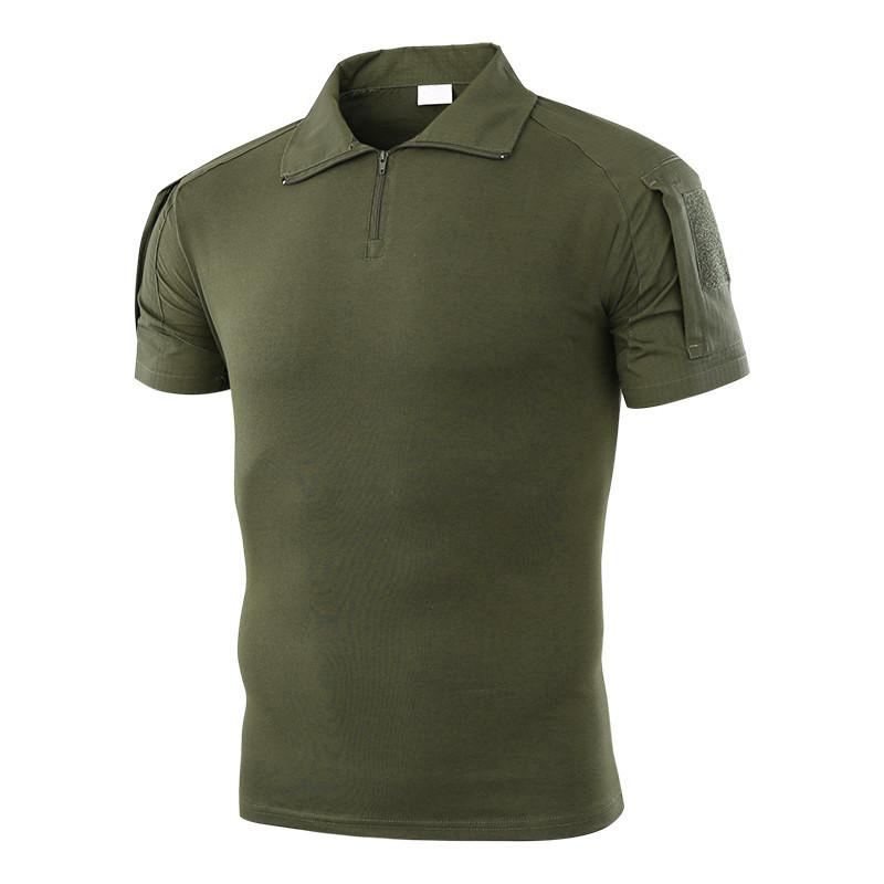 Тактична футболка з коротким рукавом Lesko A416 Green XXL чоловіча на змійці, з кишенями камуфляжна
