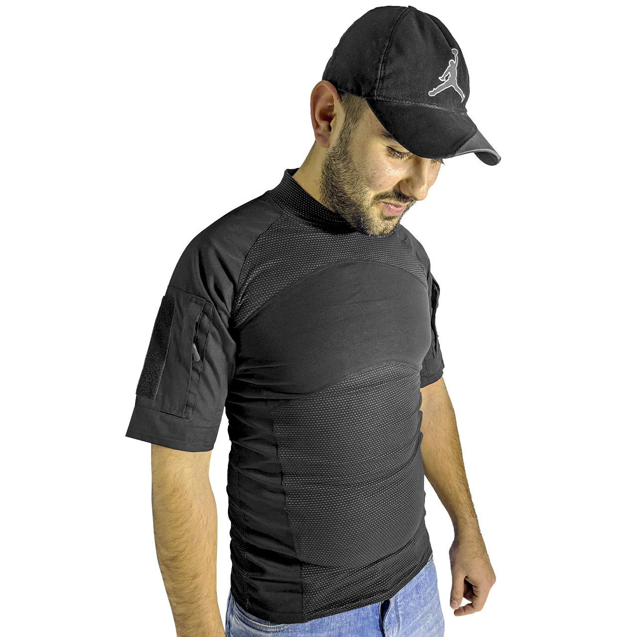 Тактична футболка з коротким рукавом Lesko A424 Black XL потоотводящая армійська камуфляжна