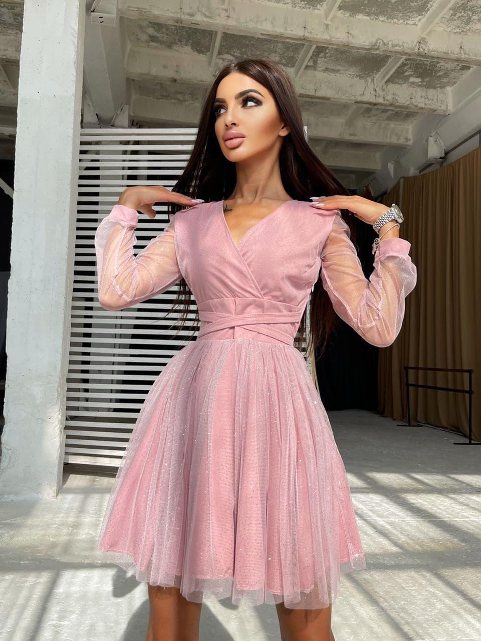 Блискуче плаття-міні з пишною спідницею і зав'язками на талії Pink