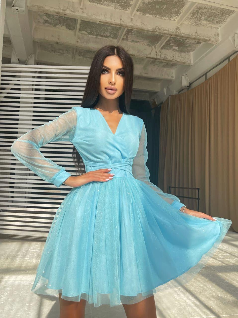 Блискуче плаття-міні з пишною спідницею і зав'язками на талії Light blue