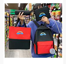 Рюкзак женский сумки пенал Комплект черный 190G