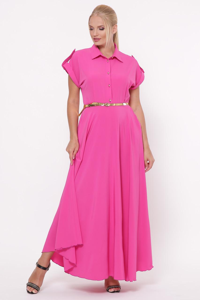 Длинное ярко-розовое платье макси размер 48-56